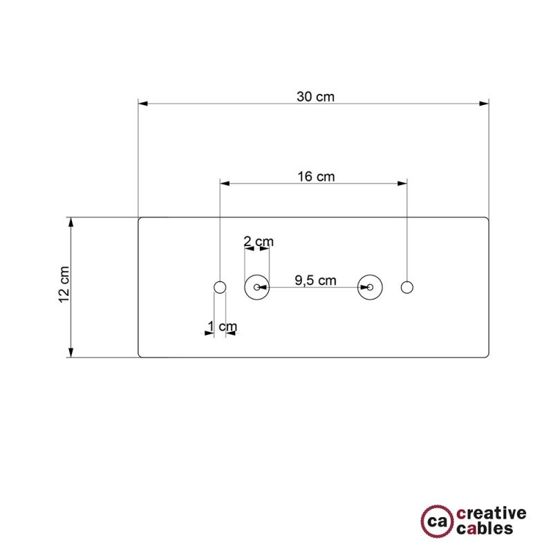 Rectangular 30x12 cm Satin Copper XXL Ceiling Rose with 2 holes + Accessories