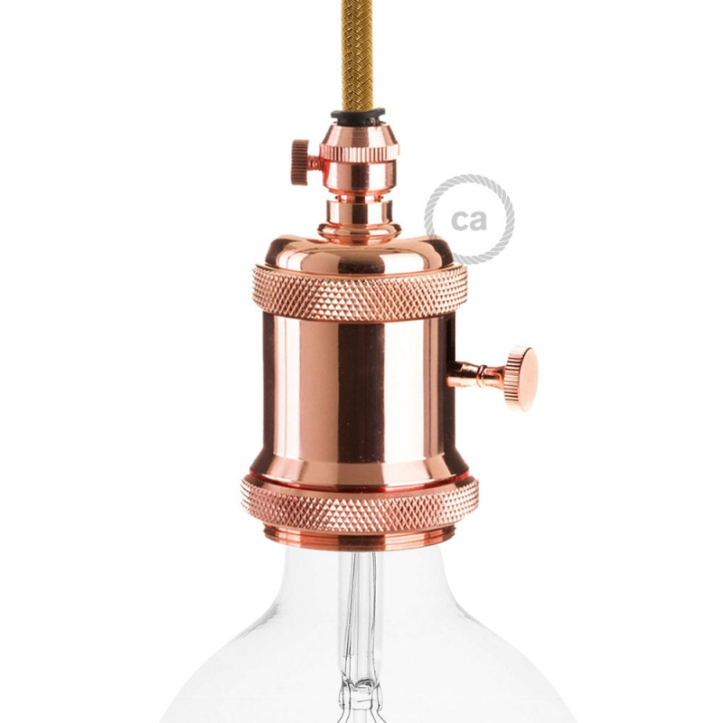 E27 Vintage copper finish Copper Lamp holder with dial switch and screw on cable retainer