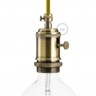 E27 Vintage Light Brass finish copper Lamp holder with dial switch and screw on cable retainer