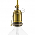 E27 Vintage Brass finish copper Lamp holder with pull switch and screw on cable retainer.