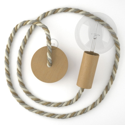Wooden Pendant, suspended lamp with nautical XL 16mm rope in jute, cotton and linen Country, Made in Italy