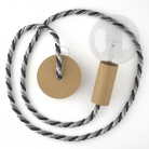 Wooden Pendant, suspended lamp with nautical XL 16mm rope in bright fabric Orleans, Made in Italy