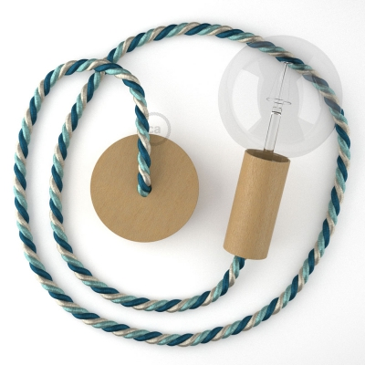 Wooden Pendant, suspended lamp with nautical XL 16mm rope in bright fabric Bernadotte, Made in Italy