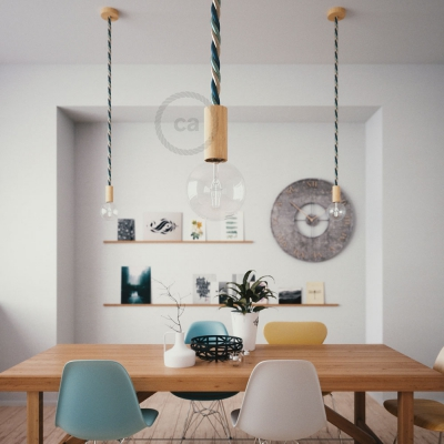 Wooden Pendant, suspended lamp with nautical 2XL 24mm rope in bright fabric Bernadotte, Made in Italy