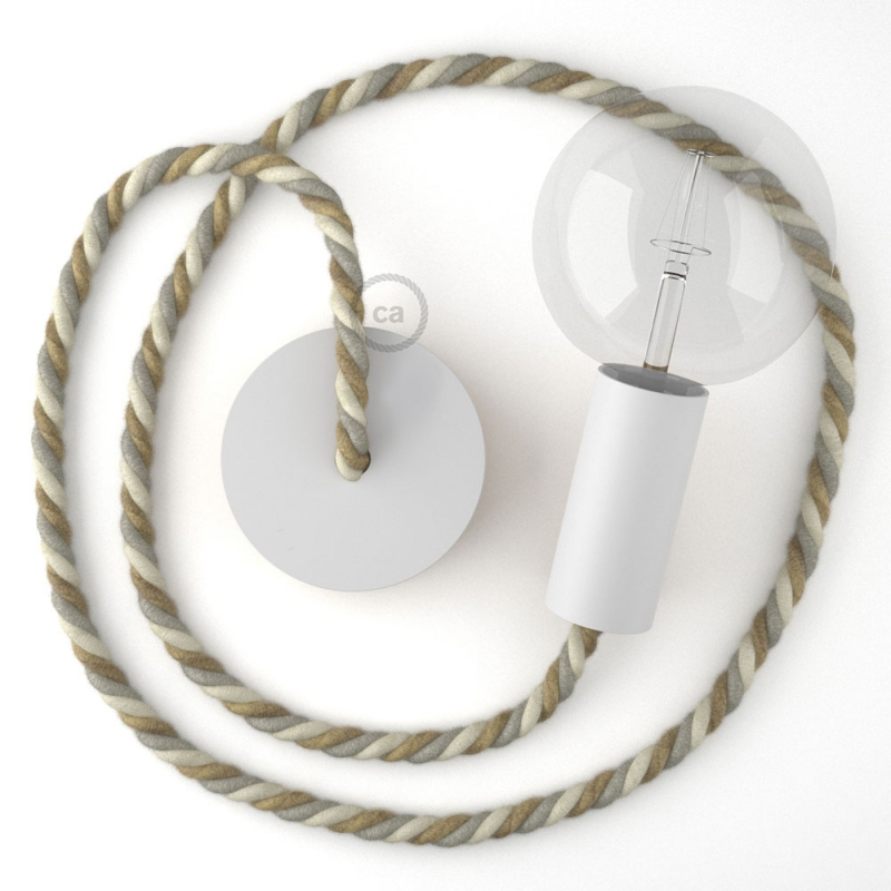 White painted wooden pendant lamp with nautical XL 16mm rope in jute, cotton and linen Country, Made in Italy