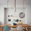White painted wooden pendant lamp with nautical 2XL 24mm rope in raw jute, Made in Italy