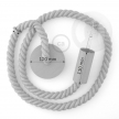 White painted wooden pendant lamp with nautical 2XL 24mm rope in natural linen, Made in Italy