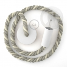 White painted wooden pendant lamp with nautical 2XL 24mm rope in raw cotton and natural linen, Made in Italy