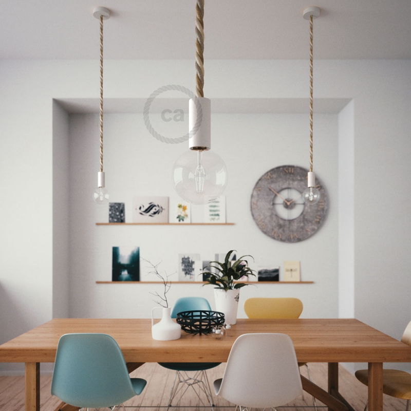 White painted wooden pendant lamp with nautical 2XL 24mm rope in jute, cotton and linen Country, Made in Italy