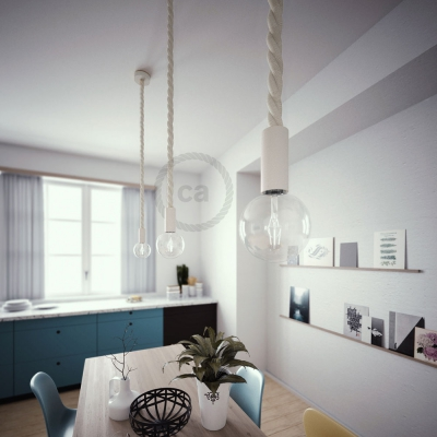 White painted wooden pendant lamp with nautical 3XL 30mm rope in raw cotton, Made in Italy