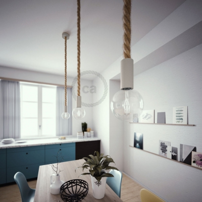 White painted wooden pendant lamp with nautical 3XL 30mm rope in raw jute, Made in Italy