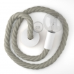 White painted wooden pendant lamp with nautical 3XL 30mm rope in natural linen, Made in Italy
