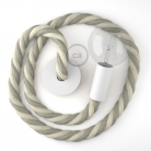 White painted wooden pendant lamp with nautical 3XL 30mm rope in raw cotton and natural linen, Made in Italy