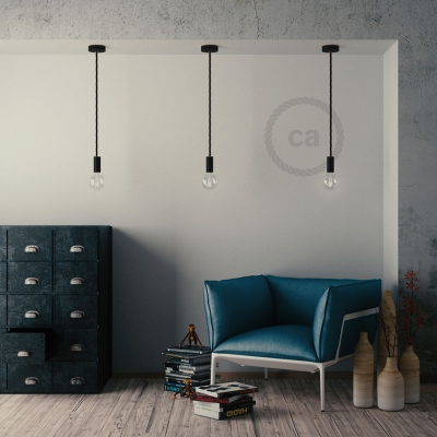 Black painted wooden pendant lamp with nautical XL 16mm rope in black shiny fabric, Made in Italy