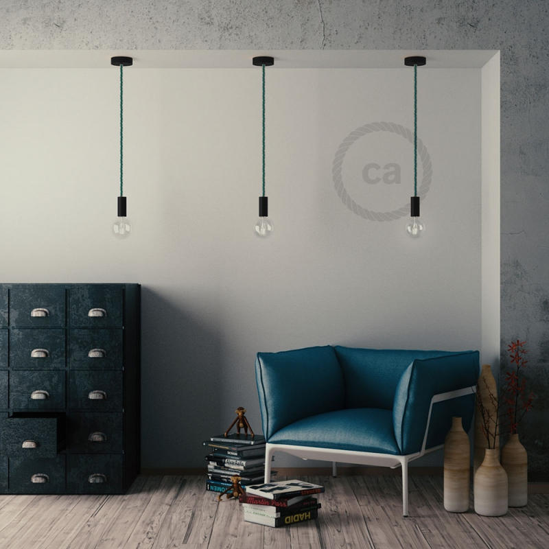 Black painted wooden pendant lamp with nautical XL 16mm rope in dark shiny green fabric, Made in Italy