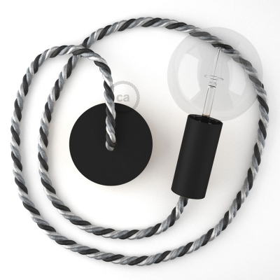 Black painted wooden pendant lamp with nautical XL 16mm rope in bright fabric Orleans, Made in Italy