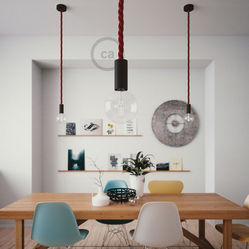 Black painted wooden pendant lamp with nautical 2XL 24mm rope in dark burgundy fabric, Made in Italy