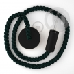 Black painted wooden pendant lamp with nautical 2XL 24mm rope in dark shiny green fabric, Made in Italy