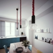 Black painted wooden pendant lamp with nautical 3XL 30mm rope in dark burgundy fabric, Made in Italy