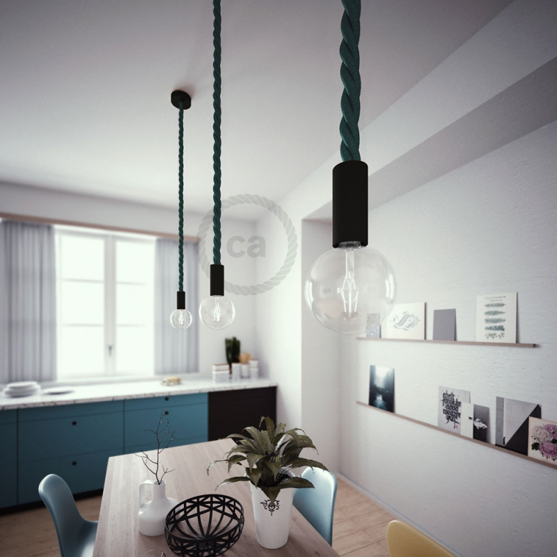 Black painted wooden pendant lamp with nautical 3XL 30mm rope in dark shiny green, Made in Italy