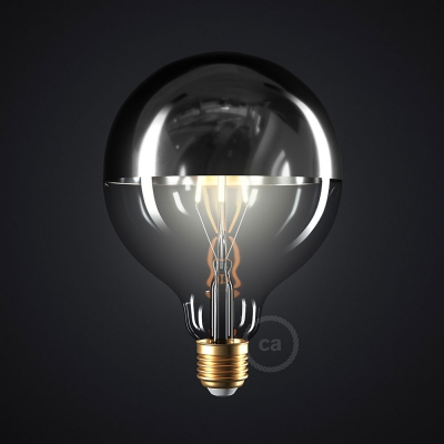 Silver half sphere Globe G125 LED light bulb 7W E27 2700K Dimmable