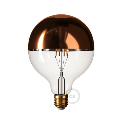 Copper half sphere Globe G125 LED light bulb 7W E27 2700K Dimmable