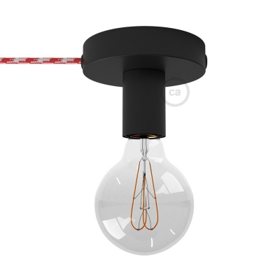 Spostaluce, the black metal light source with fabric cable and side holes