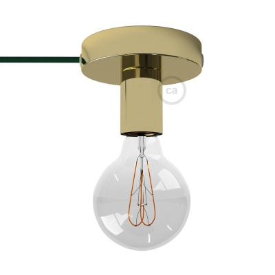 Spostaluce, the brass metal light source with fabric cable and side holes