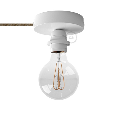 Spostaluce, the white metal light source with E27 threaded lamp holder, fabric cable and side holes