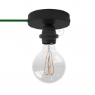 Spostaluce, the black metal light source with E27 threaded lamp holder, fabric cable and side holes