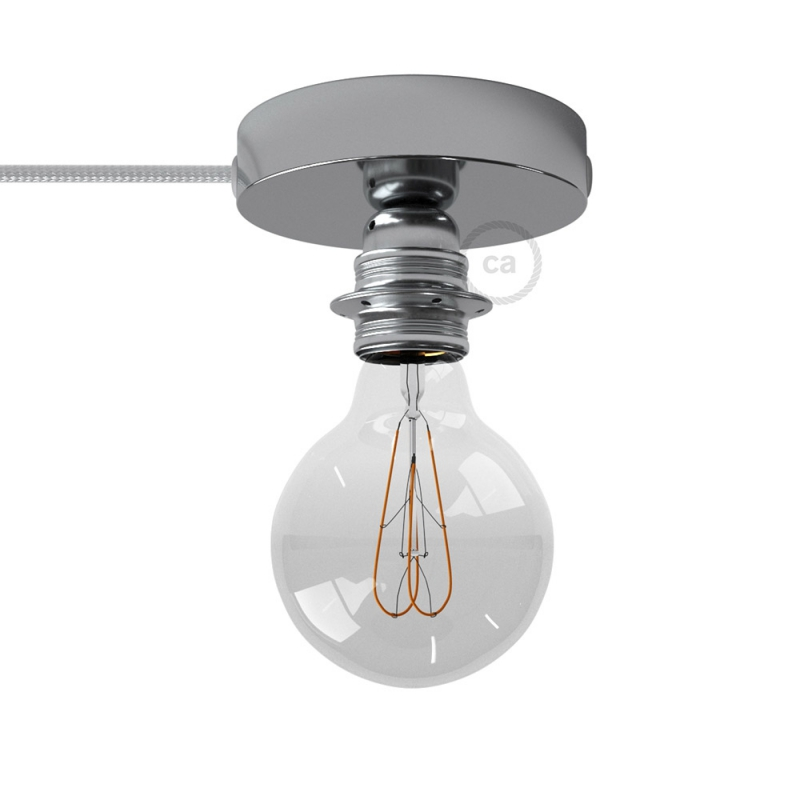 Spostaluce, the chromed metal light source with E27 threaded lamp holder, fabric cable and side holes