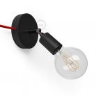 Spostaluce Metallo 90°, the black adjustable light source with fabric cable and side holes