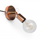 Spostaluce Metallo 90°, the coppered adjustable light source with fabric cable and side holes