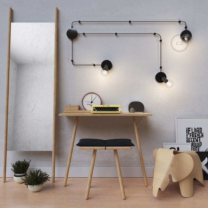 Spostaluce Metallo 90°, the black pearl adjustable light source with fabric cable and side holes
