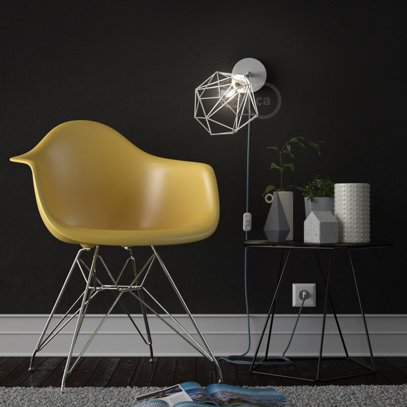 Spostaluce Metallo 90°, the white adjustable light source with E27 threaded lamp holder, fabric cable and side holes