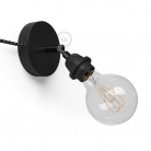Spostaluce Metallo 90°, the black adjustable light source with E27 threaded lamp holder, fabric cable and side holes