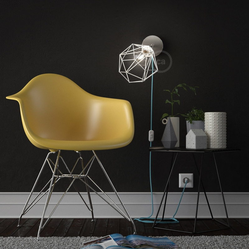Spostaluce Metallo 90°, the chromed adjustable light source with E27 threaded lamp holder, fabric cable and side holes