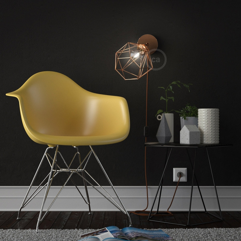 Spostaluce Metallo 90°, the coppered adjustable light source with E27 threaded lamp holder, fabric cable and side holes