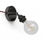 Spostaluce Metallo 90°, the black pearl adjustable light source with E27 threaded lamp holder, fabric cable and side holes