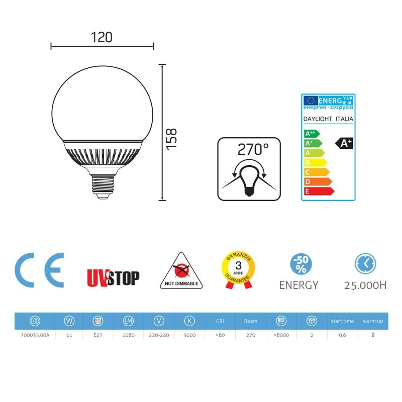 Light bulb Led Globe 11W E27