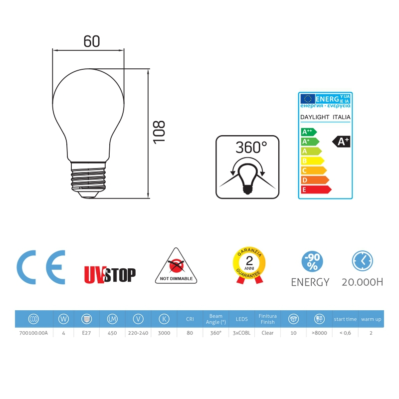 Light bulb filament Led Drop 4W E27 Clear
