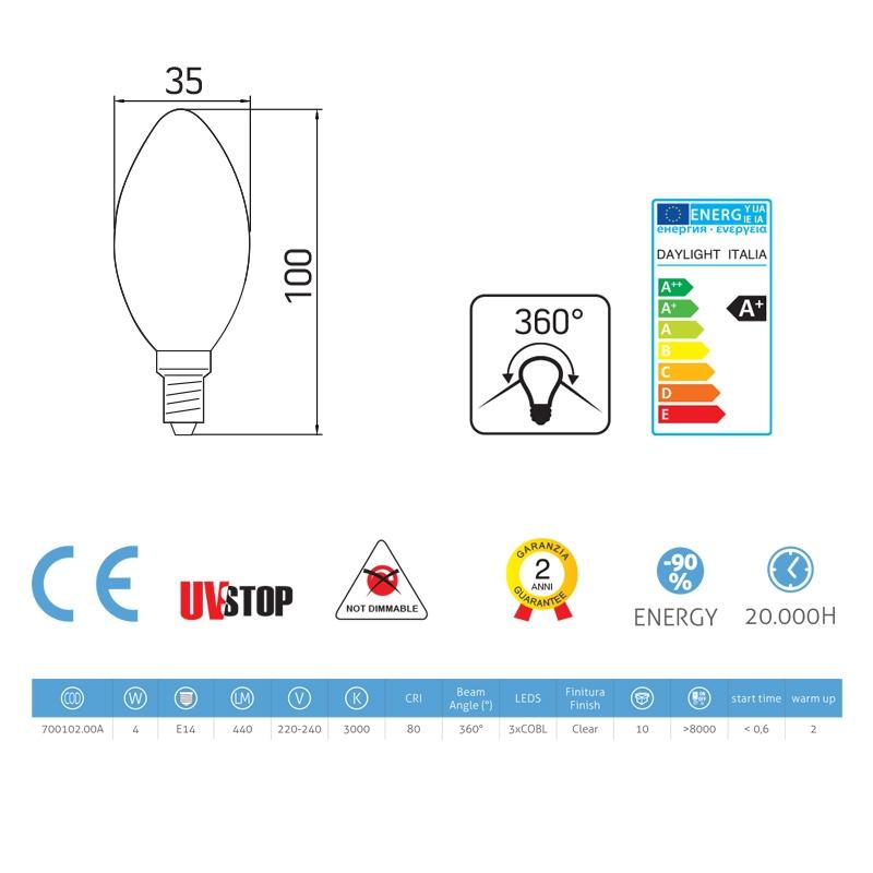 Light bulb filament Led Olive 4W E14 Clear