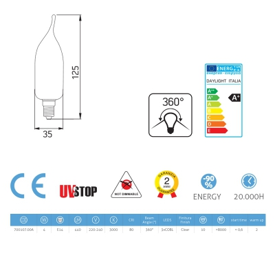 Light bulb filament Led Gust of Wind 4W E14 Clear