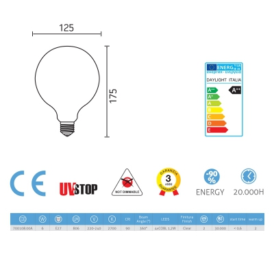 Light bulb filament Led Globe 6W E27 Clear
