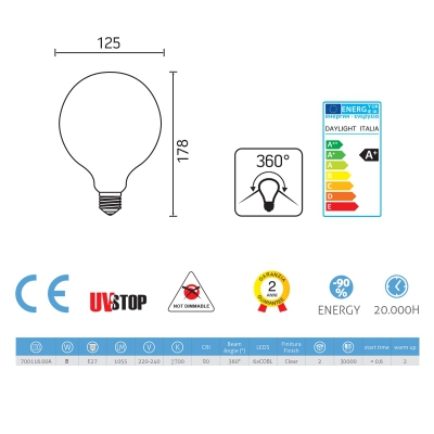 Light bulb filament Led Globe 8W E27 Clear