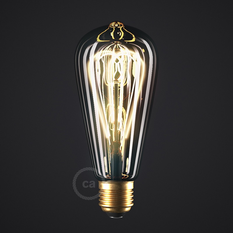 LED Smoky Light Bulb - Edison ST64 Curved Double Loop Filament - 5W E27 Dimmable 2000K