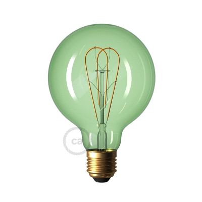 LED Emerald Light Bulb - Globe G95 Curved Double Loop Filament - 5W E27 Dimmable 2200K