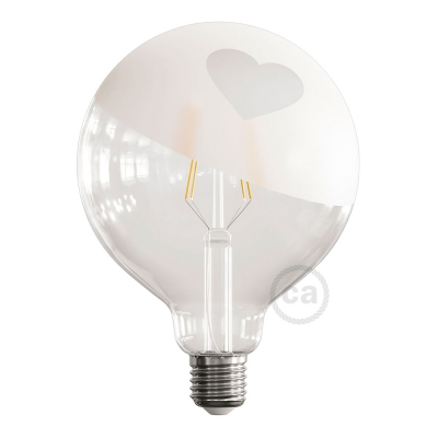 LED Light Bulb Globe G125 Curved Spiral Filament - Tattoo Lamp® Cuore 4W E27 2700K