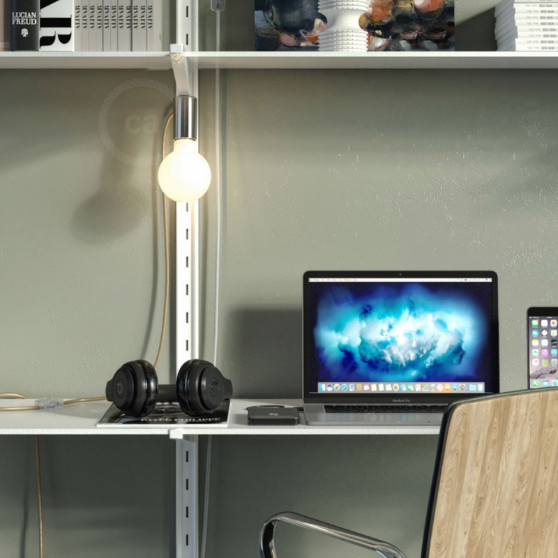 Magnetico®-Plug Brushed Metal, ready-to-use magnetic lamp holder
