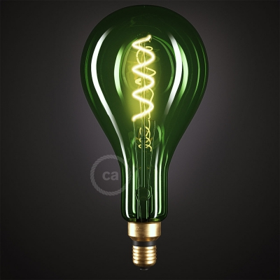 XXL LED Emerald Light Bulb - Pear A165 Curved Double Spiral Filament - 5W E27 Dimmable 2200K